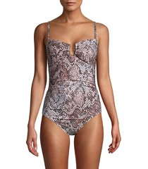 calvin klein women's printed one-piece swimsuit - nectar - size 10