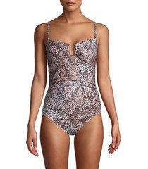 calvin klein women's printed one-piece swimsuit - nectar - size 14