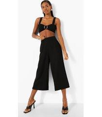 geweven linnen mix culottes, black