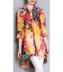 camicia in chiffon alto basso con risvolto stampato vintage per le donne