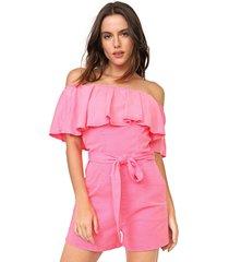 macaquinho sarja my favorite thing(s) neon babado pink - rosa - feminino - algodã£o - dafiti