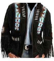 men black suede western cowboy jacket with fringe, mens fringe jackets