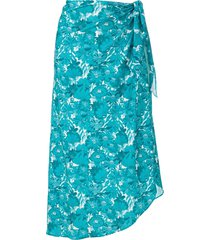 adriana degreas floral-print tie-waist skirt - blue