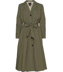 slftinka ls coat b trenchcoat lange jas groen selected femme