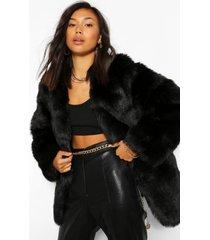 luxe faux fur jas met panelen, zwart