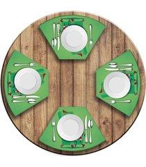 jogo americano   para mesa redonda wevans cute noel green  love decor - multicolorido - dafiti
