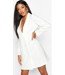 puff sleeve double breasted dress, white