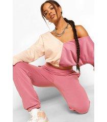 korte colourblock hoodie met v-hals, rose