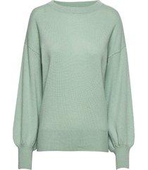balloon sleeve sweater stickad tröja grön davida cashmere