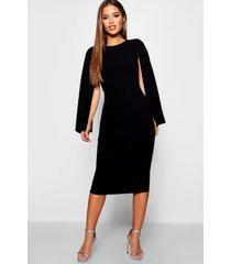 petite cape sleeve midi dress, black