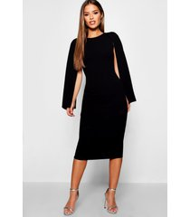 petite cape sleeve midi dress, black