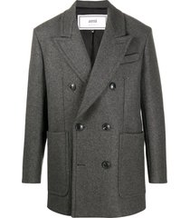 ami paris double-breasted short coat - grey
