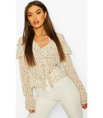 ditsy floral print ruffle blouse, ivory