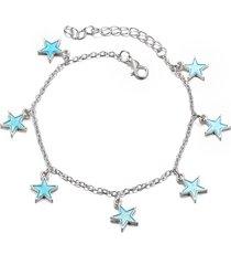 braccialetto alla moda dei monili del braccialetto della spiaggia del sandalo a piedi nudi della catena del piede della caviglia della stella blu luminosa d'avanguardia per le donne