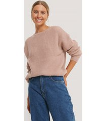 na-kd basic round neck knitted sweater - pink