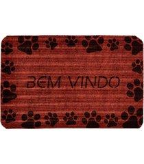 capacho carpet bem vindo com patinhas pretas ãšnico love decor - vermelho - dafiti