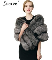 simplee winter warm faux fur coat synthetic fur cape poncho shawl scarf wrap hot
