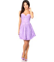 lilac steel boned satin & lace empire waist corset dress regular & plus size