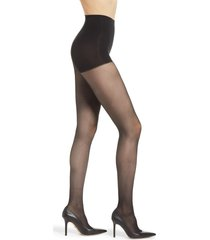 women's dkny light opaque control top tights, size small - black