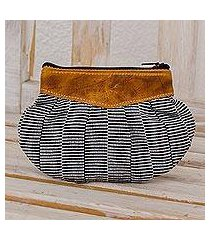 leather accent cotton clutch, 'modern news' (guatemala)