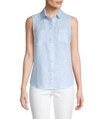 saks fifth avenue women's sleeveless linen shirt - chambray blue - size s