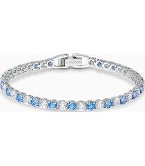 braccialetto tennis deluxe, azzurro, placcato rodio