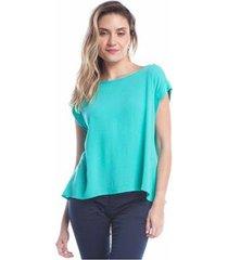 blusa ralm tricot viscose renda feminina - feminino