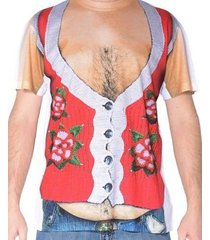 faux real ugly christmas sweater look hairy belly poinsettia holiday shirt