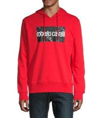 roberto cavalli men's logo hoodie - red - size xl