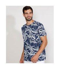 camiseta masculina estampada manga curta gola careca de folhagem azul marinho