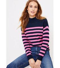 loft petite striped shoulder button sweater