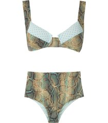 brigitte anne e fran high waisted bikini set - multicolour