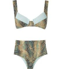 brigitte anne e fran high waisted bikini set - multicolour