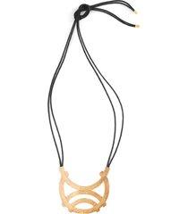 gold geo horseshoe necklace, women's, cotton, josie natori