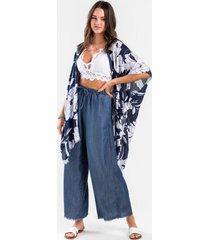 cadie tropical frayed kimono - blue