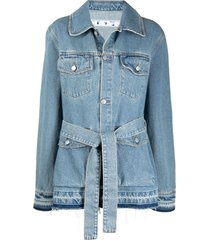 off-white oversized belted denim jacket - blue