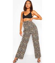 brede geweven broek met luipaardprint, luipaard