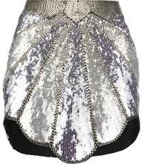 the attico bead embroidered metallic skirt - silver