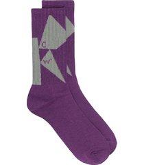 a-cold-wall* intarsia-knit shard socks - purple