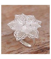 sterling silver filigree cocktail ring, 'sterling tropics' (indonesia)