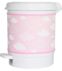 lixeira nuvem chevron rosa quarto bebê infantil menina