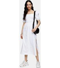 white shirred midi dress - white