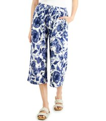 inc petite printed pull-on culottes, created for macy's