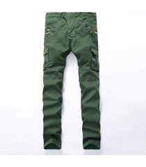 mens skinny ripped biker jeans multi pockets cargo pants pleated pencil jeans