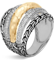 'classic chain' diamond 18k yellow gold silver ring