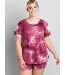 lane bryant women's livi french terry short-sleeve sweatshirt 10/12 boysenberry