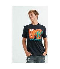 camiseta em algodão estampa mtv   mtv   preto   gg