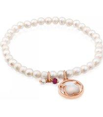 pulsera camille de plata vermeil rosa con perlas, nácar y rubí