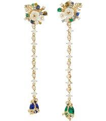'emerald paradise' diamond mother of pearl gemstone earrings
