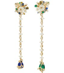 'emerald paradise' diamond mother of pearl gemstone earrings